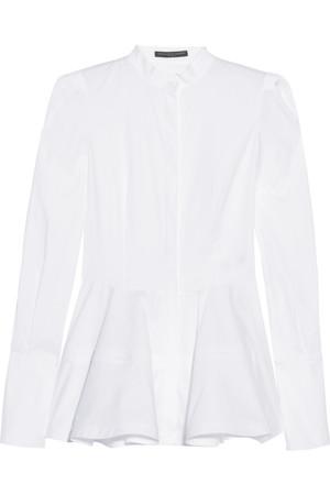 纯棉府绸装饰腰摆衬衫