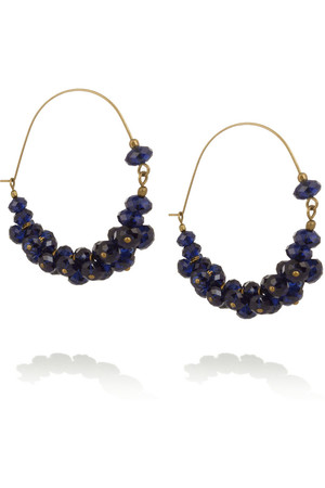 水晶缀饰金色圈形耳环