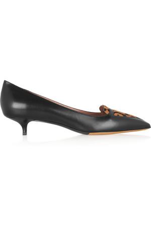 Hallie 小牛毛拼接中跟鞋