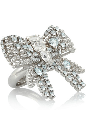 施华洛世奇水晶镀银蝴蝶结戒指