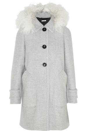 羊毛皮边饰连帽羊毛外套