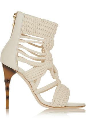 棉质编绳和皮革凉鞋