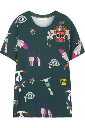 印花弹力针织 T 恤