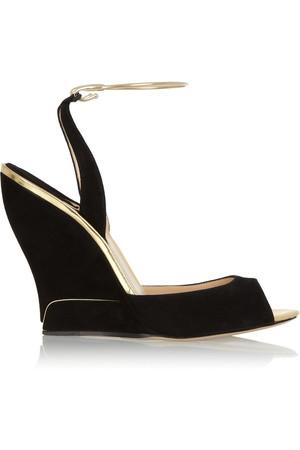 Delphi 绒面革坡跟凉鞋
