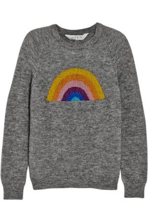 Rainbow 金属感嵌花针织毛衣