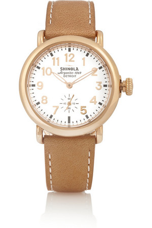 Runwell 镀玫瑰金和皮革腕表