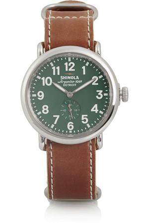 Runwell 不锈钢和皮革腕表