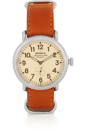 Runwell 不锈钢和皮革手表