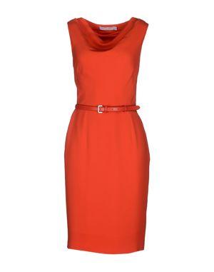 红色 DIOR 及膝连衣裙