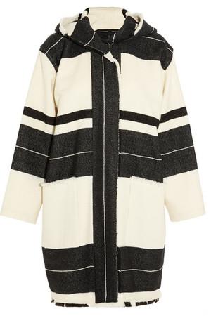 Adil 羊毛混纺条纹连帽外套