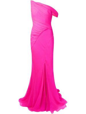 OSCAR DE LA RENTA ruched front slit gown