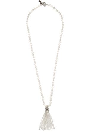 流苏人造珍珠、水晶、镀银项链