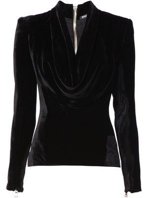 BALMAIN cowl neck velvet top