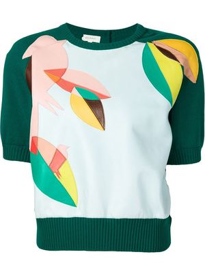 DELPOZO leather applique sweater