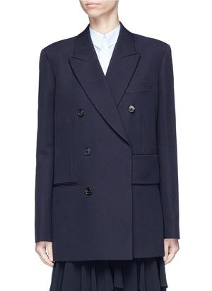 腰带双排扣羊毛西装夹克