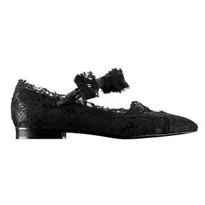Chanel香奈儿黑色蕾丝平底鞋
