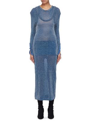 仿两件式闪亮丝线针织连衣裙