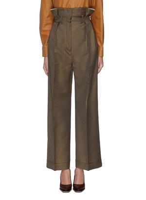 混羊毛斜纹布阔腿纸袋裤