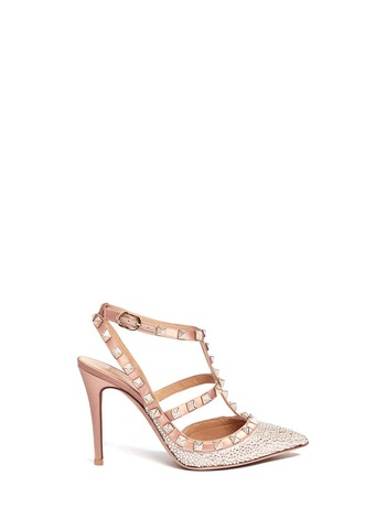 Rockstud caged crystal pavé satin pumps