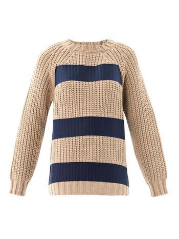 Printed stripe chunky-knit sweater