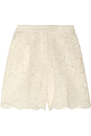 蕾丝和真丝欧亘纱短裤