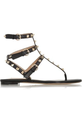 Rockstud 纹理皮革凉鞋