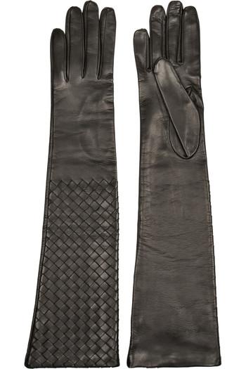 编织皮革长手套