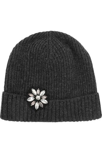 水晶缀饰羊毛套头帽