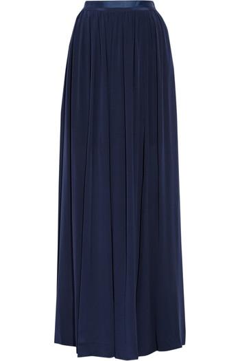 Severa 褶裥真丝双绉超长半身裙