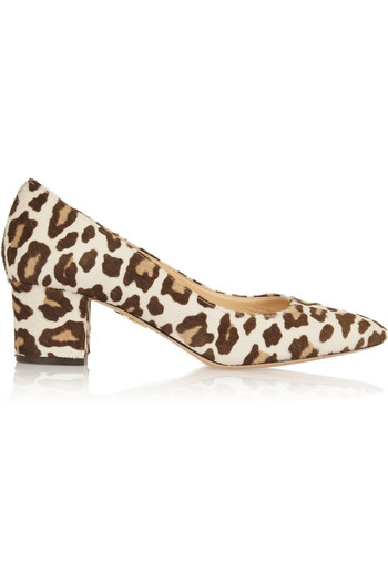 Oprah 豹纹小牛毛中跟鞋