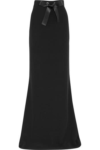 带蝴蝶结装饰绉纱超长半身裙