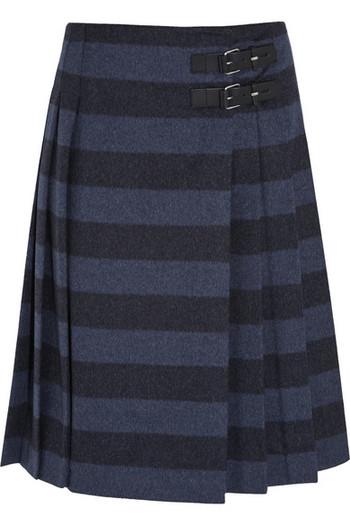 条纹拉绒羊毛混纺裹身半身裙