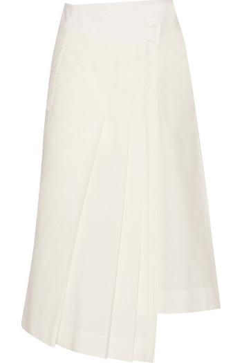 褶裥纯棉府绸裹身半身裙