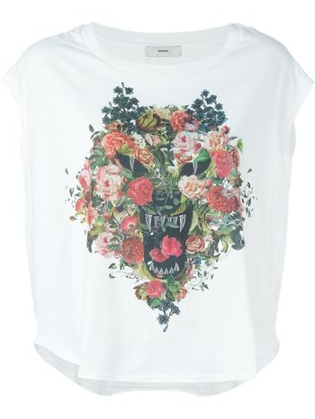 DIESEL floral and fierce print loose T-shirt