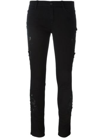 ERMANNO SCERVINO floral embroidered skinny trousers
