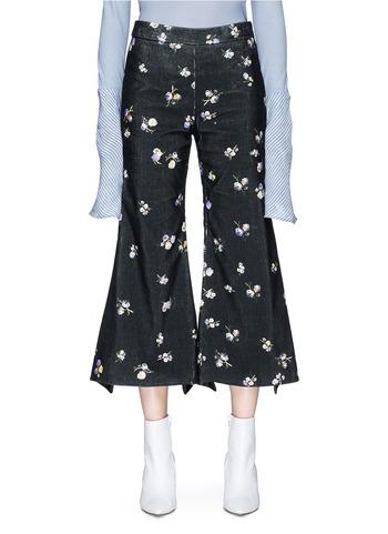 TYME花卉印花灯芯绒阔褪八分裤