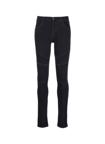 BEARDEN MOTO菱格绗缝修身牛仔裤
