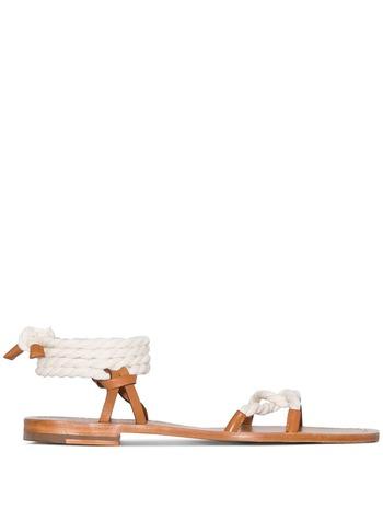 Zimmermann rope tie flat sandals - White