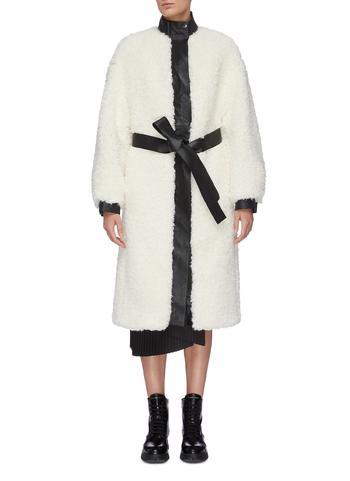 腰带小羊皮拼接仿皮毛大衣