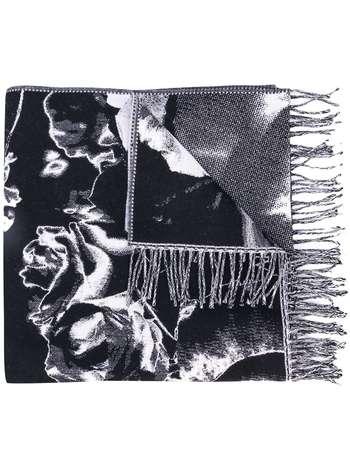 ALEXANDER MCQUEEN rose print fringed scarf - Black