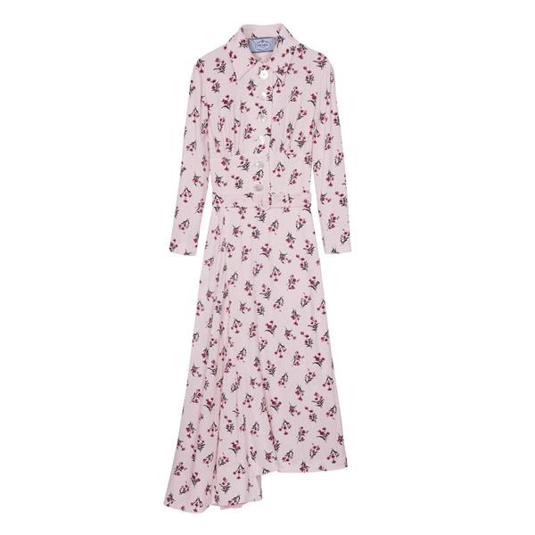 Prada普拉达2013秋冬系列粉色印花连衣裙