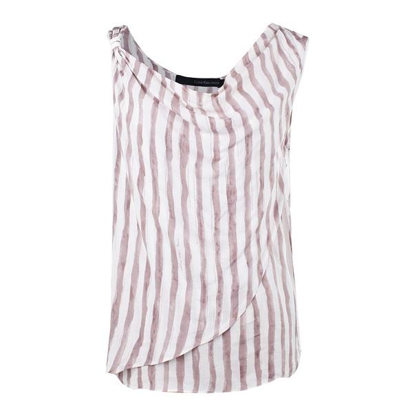 Calvin Klein Jeans 2013年白棕条纹T恤