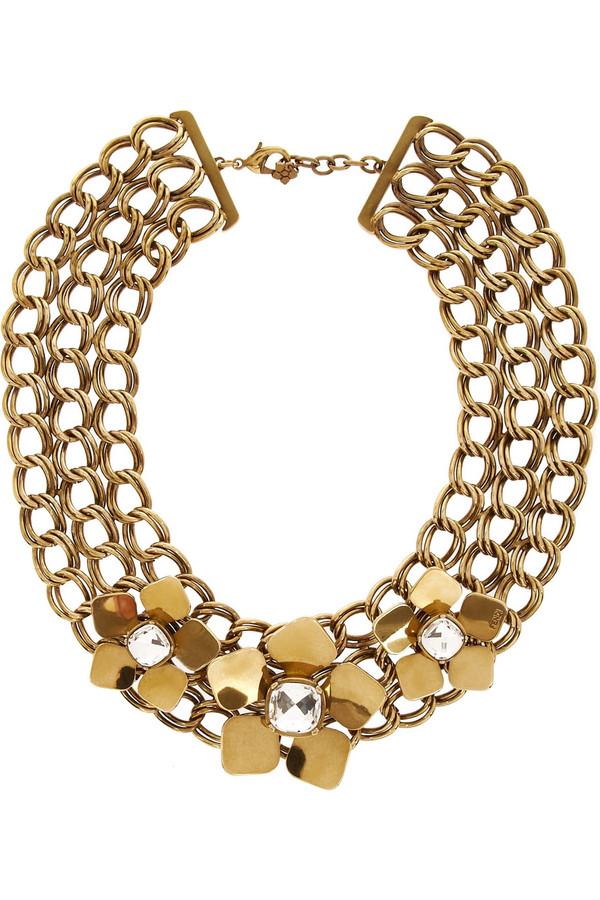 施华洛世奇水晶金色项链