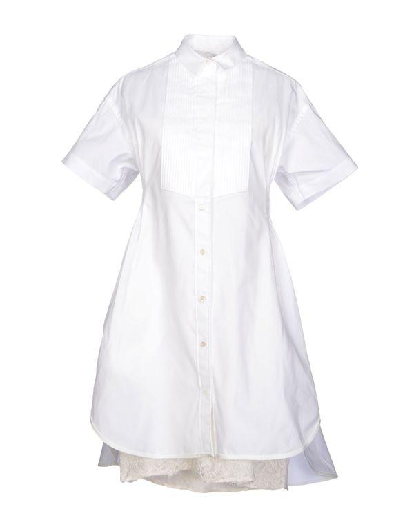 白色 SACAI 及膝连衣裙