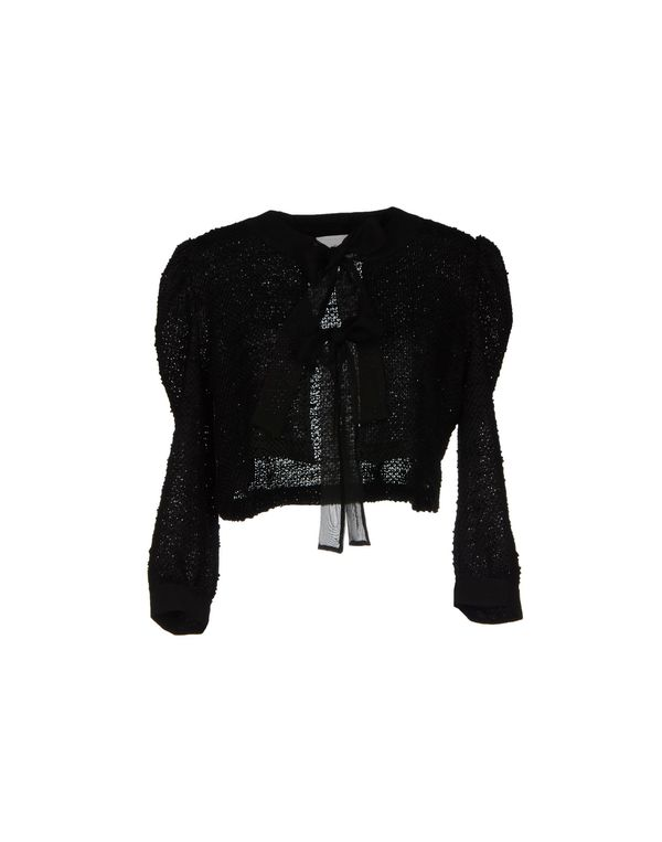 黑色 PINK BOW 针织开衫