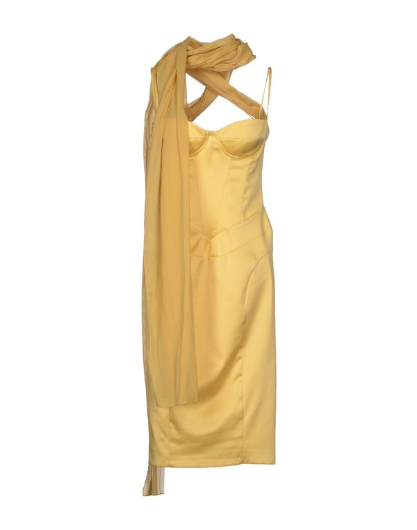 黄色 JUST CAVALLI 及膝连衣裙