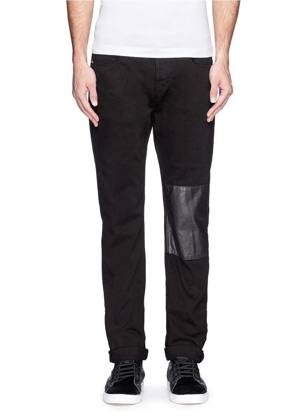 皮革拼贴修身牛仔裤