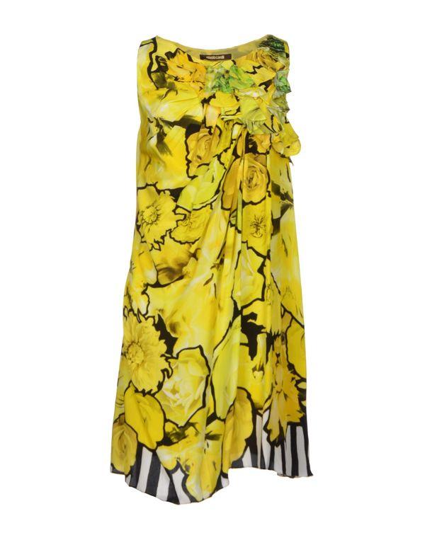黄色 ROBERTO CAVALLI 短款连衣裙