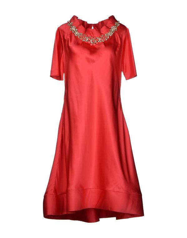 珊瑚红 MOSCHINO 及膝连衣裙