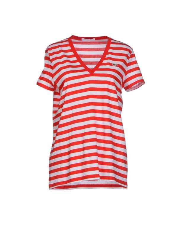 红色 LACOSTE T-shirt